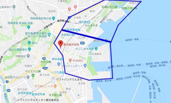 鹿児島市役所・上町・鹿児島駅の地図